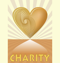 Charity leaflet with golden heart on background vector