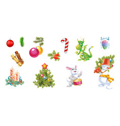 Christmas and new year decoration set with pine vector