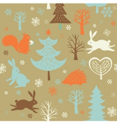 Christmas forest background vector image