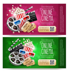 Cinema flyers with gift vector