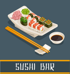 colorful sushi bar concept vector image