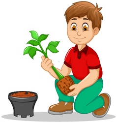 Cute men cartoon move plant from the poly bag to p vector