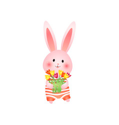 Cute rosy easter bunny with flowers isolated on vector