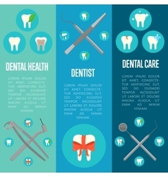 Dental banners set with crosswise instruments vector image