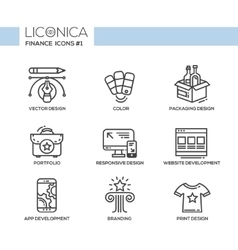 Designing - thin line design icons pictograms vector