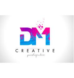 Dm d m letter logo with shattered broken blue vector