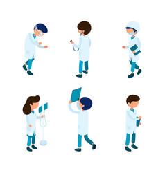 doctors isometric medical staff paramedic surgeon vector image