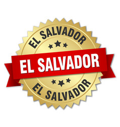 El salvador round golden badge with red ribbon vector