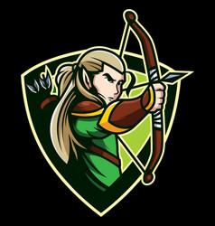 Elves archer mascot vector