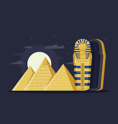 Flat night ancient egypt with pyramids moon and vector