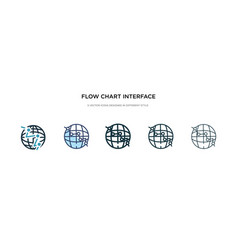 flow chart interface icon in different style two vector image