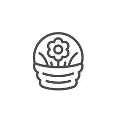 flower basket line outline icon vector image