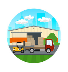 forklift loads or unloads boxes from a lorry vector image