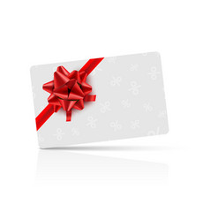 gift card with red bow and ribbon coupon card vector image