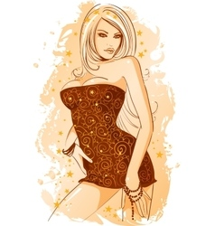 girl is dressed in an evening dress vector image