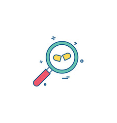glass search pills zoom icon desige vector image