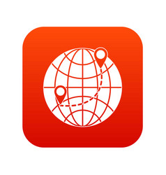 globe icon digital red vector image