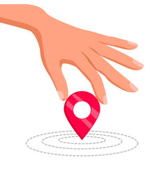 hand holding a geo location pin vector image