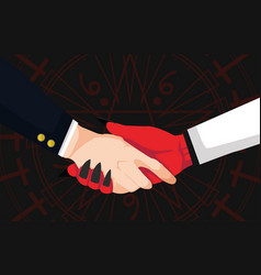 Hand shaking between businessman and devil vector