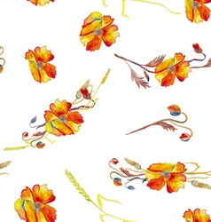 Handpainted watercolor of poppies grass and vector image