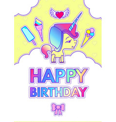 Happy birthday card template with cute magic vector