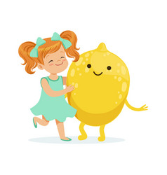 Happy girl having fun with fresh smiling lemon vector