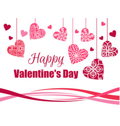 happy valentines day hanging hearts vector image