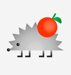 hedgehog with apple gradien color icon vector image