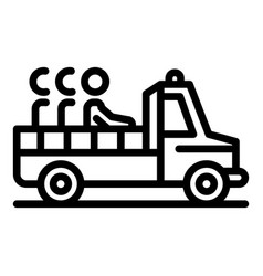 Illegal immigrants pickup icon outline style vector
