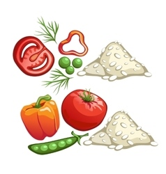 Ingredients for cooking rice with vegetables vector