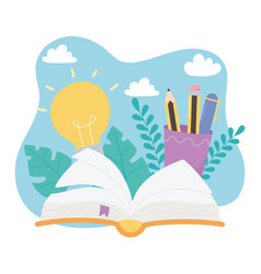 international literacy day open book pencils vector image