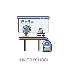 Junior school rgb color icon vector