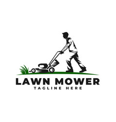 Lawn mower with people logo icon vector