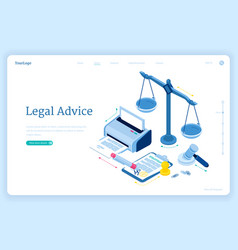 Legal advice isometric landing lawyer assistance vector