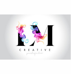 Lm vibrant creative leter logo design with vector