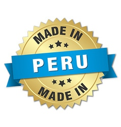 Made in Peru gold badge with blue ribbon vector
