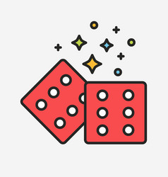 Magic red dices with sparks line vector