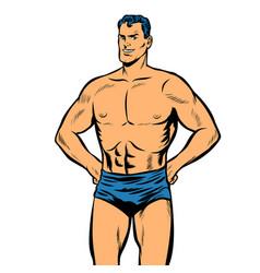 Man swimmer in swimming trunks isolate on white vector