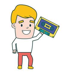 man with cassette equipment festival music vector image