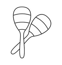 Maracas icon in outline style vector