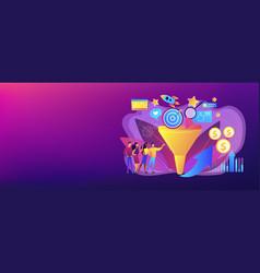 Marketing funnel concept banner header vector