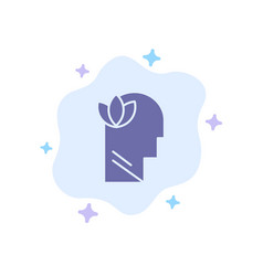 Mental relaxation mind head blue icon on abstract vector