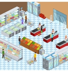 Modern Supermarket Interior Isometric Composition vector