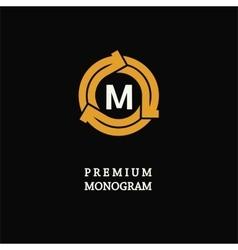 Modern template monogram emblem logo Circle of vector