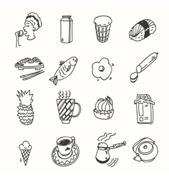 Morning breakfast lunch or dinner kitchen doodle vector image