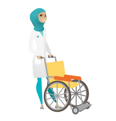 Muslim female doctor pushing wheelchair isolated vector