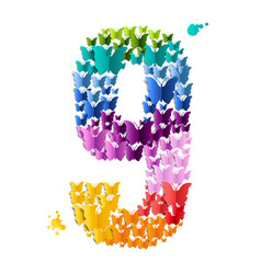 Number 9 butterfly vector