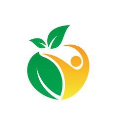 People leaf eco logo vector
