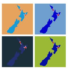 pop art map of newzealand vector image