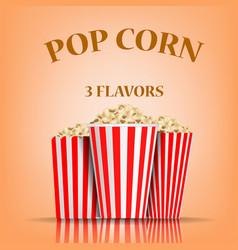 popcorn flavors concept background realistic vector image